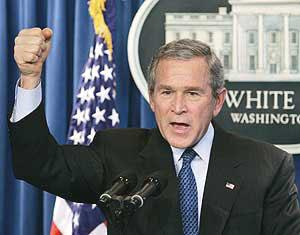 Bush - President of the USA .  USA flag